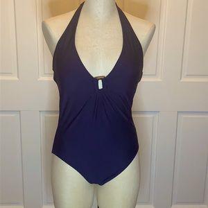 Helen Jon Navy Swimsuit with V Neckline SZ Med
